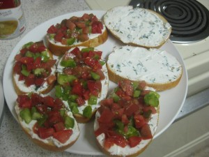 Agridude - Heirloom Tomatoes on Crostini with Goat Cheese and Basil 2