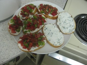 Agridude - Heirloom Tomatoes on Crostini with Goat Cheese and Basil